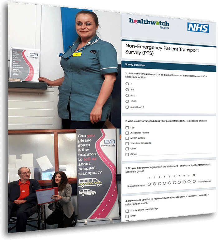 montage of imagery associated with patient survey