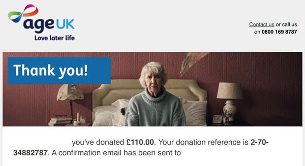 Thank you from AgeUK acknowledging our donation