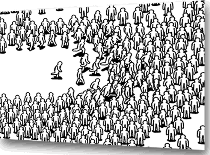 Cartoon image of crowd running