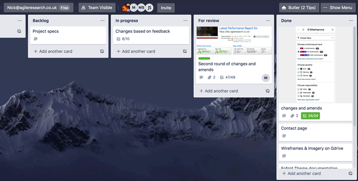 We used Trello as a Kanban board to manage tasks